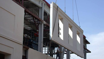 Prefabricated components being put into place